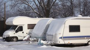 Caravan and Motorhome in Snow