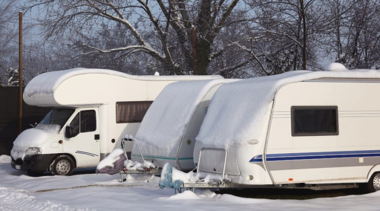 Caravan and Motorhome in Winter