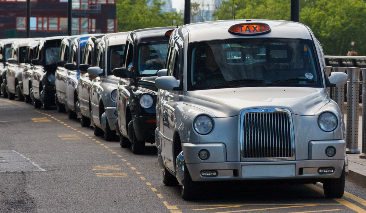 Taxis on rank for hire